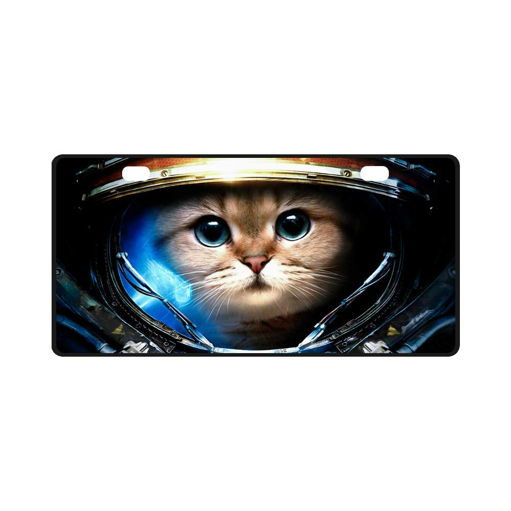 Metal License Plate Custom Car Label License Plate Humorous Astronaut cat Home Decor Wall Pendant 11.8''x6.1'' Fun Gift
