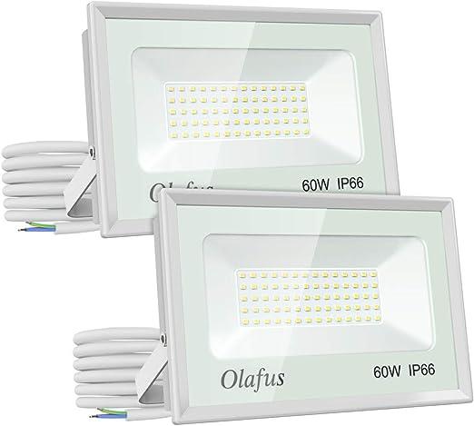 Olafus 2 Pack 60W Focos LED Exterior, IP66 Impermeable 6600LM 5000K Blanco Frío Floodlight LED, Equivalente a 350W Halógeno, Proyector Foco Led de Seguridad, Jardín, Garaje, Patio, Fábrica, Terraza: Amazon.es: Iluminación