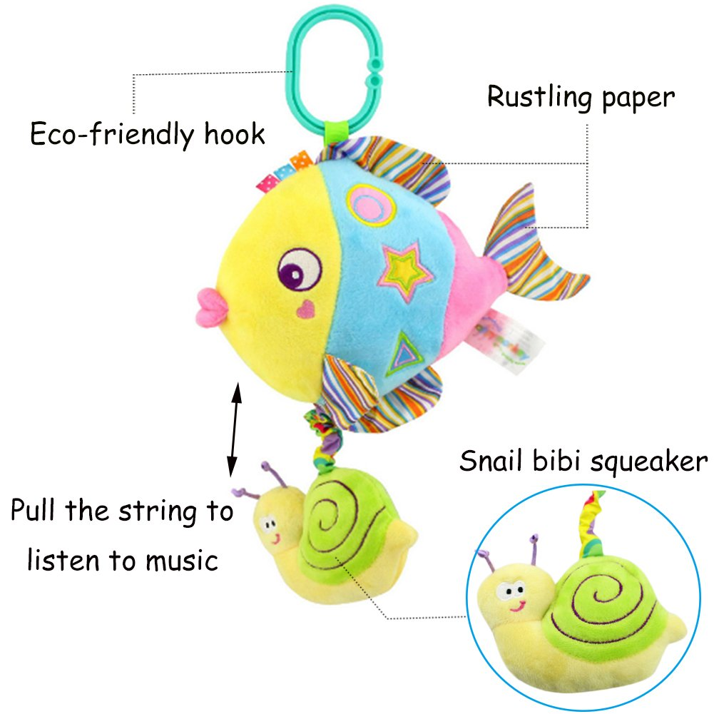 Rolina Baby Marine Animal Musical Plush Toys Infant Stroller Toys Toddler Stuffed Toys Rattle Crib Toys (Colorful Fish) by Rolina (Image #5)