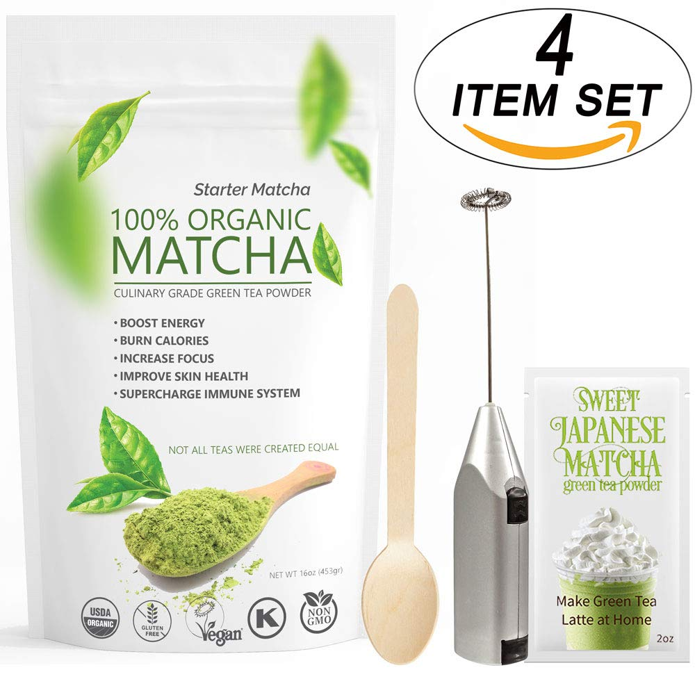 Starter Matcha 12oz (4 items set) - USDA Organic, Non-GMO Certified, Vegan and Gluten-Free | Pure Matcha Green Tea Powder + Wooden Spoon + Electric Frother + 2oz Sample of Sweet Japanese Matcha