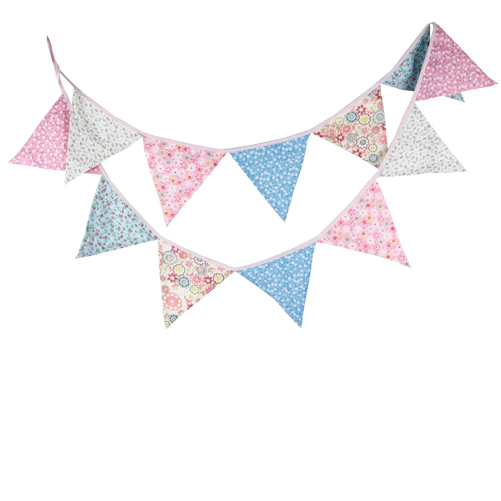 Da.Wa Cotton Cloth Pennant Flags Banners Hanging Buntings Garland Banner String Party Flag for Play Room Home Wall Decoration