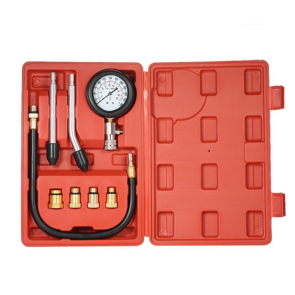 Akldigital Kit per testare la compressione, 0-20 bar, per cilindri di moto e auto, per motore a benzina arancione