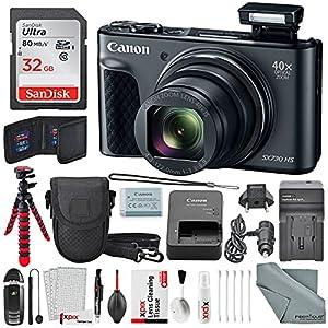 Canon PowerShot SX730 HS Digital Camera (Black) Deluxe Bundle w/32 GB+ Xpix TableTop Tripod,+ Traveling Charger+ Xpix Cleaning Kit