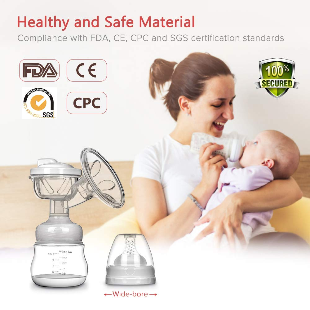 MOSFiATA Dual Suction Rechargeable Nursing Breastfeeding Pump with Touch Screen LCD Display 3 Modes Electric Breast Pump BPA Free FDA Certified 9 Levels Each Mode