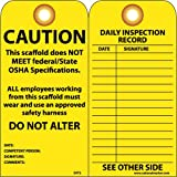 NMC SVT2 Accident Prevention Tag, ''CAUTION - This Scaffold Does Not Meet OSHA Specifications - Wear Safety Harness,'' 6'' Height x 3'' Width, Cardstock, Yellow