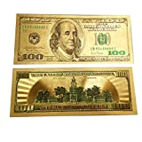 Whole sales 100pcs 1:1 $ 100 dollar Gold Foil USD Paper Money Banknotes Crafts UNC Plated Color novelty Old Version 100 USD Banknotes Craft