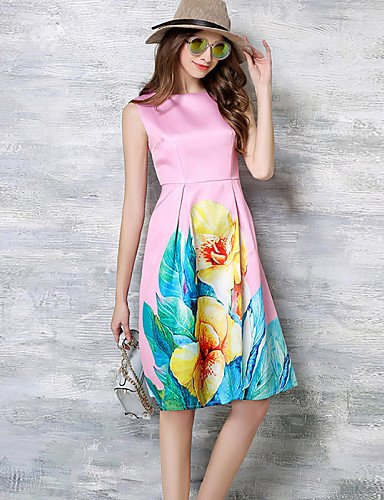 PU&PU Robe Aux femmes Trapèze Simple,Imprimé Col Arrondi Mi-long Polyester , pink-s , pink-s