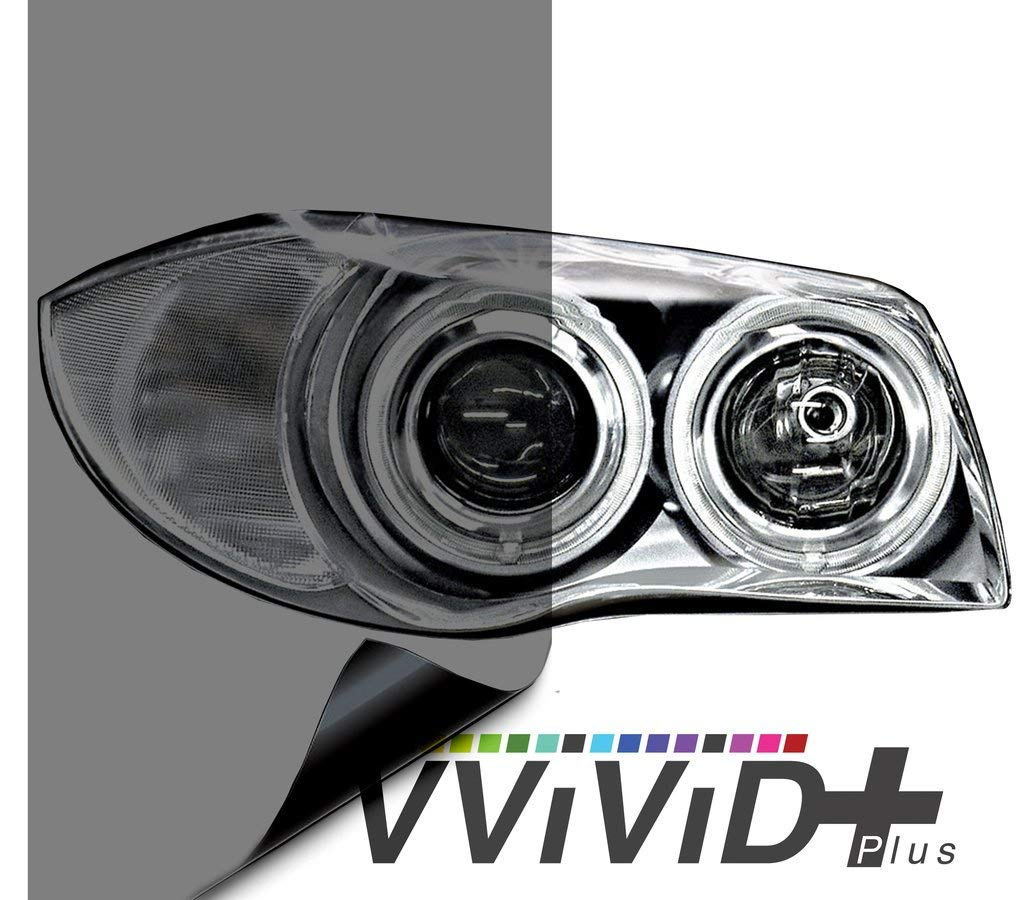 "VViViD Air-Tint Smoke Black Gloss Vinyl Headlight Foglight Transparent Tint Wrap Self-Adhesive (12"" x 48"", 2-roll Pack)"