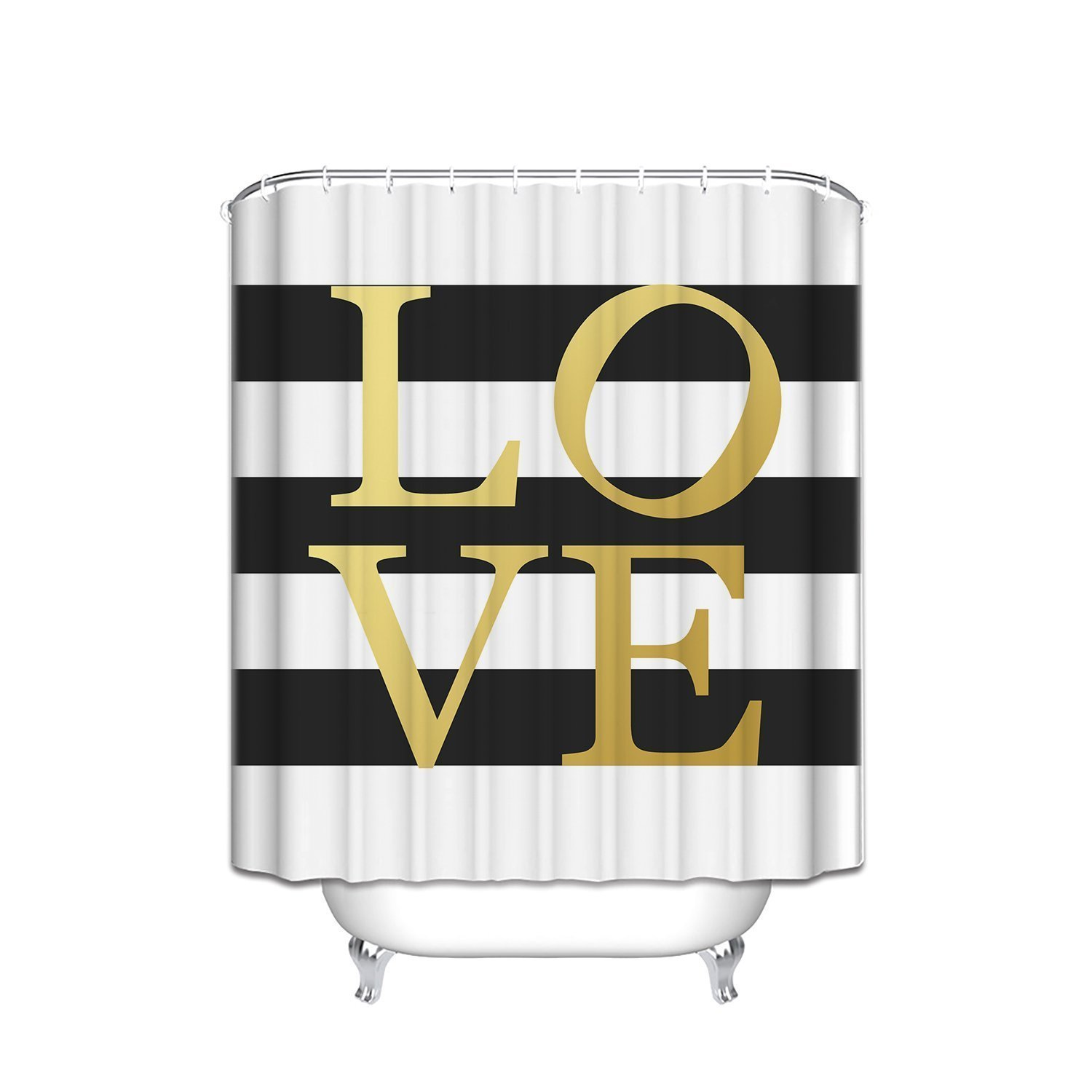 KAROLA Fashion Waterproof Polyester Fabric Gold Love Sign Black and White Stripe Bathroom Shower Curtain with Hooks 60x72IN