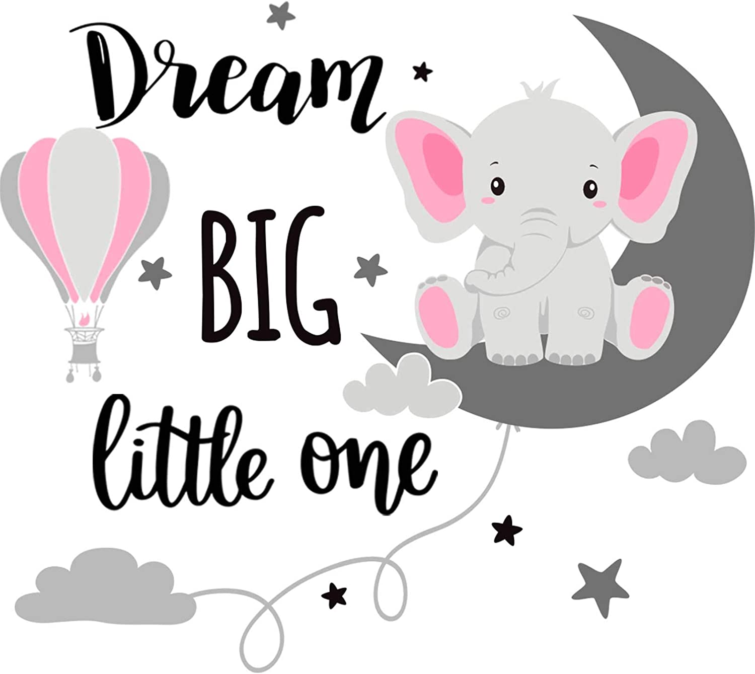 Dream Big Little One Elephant Wall Decals Baby Elephant Wall Stickers Cloud Moon and Star Decal Self Adhesive Wall Decor for Baby Kids Boy Girl Bedroom Nursery Cradle