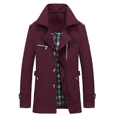 Beginfu Herren Winter warme Jacke Outwear Schlanke Lange
