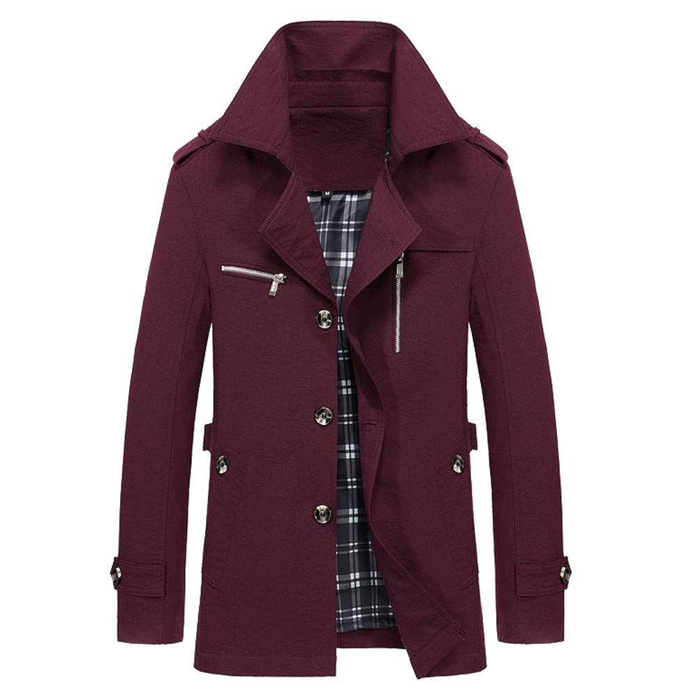 YOcheerful Men Jacket Coat Winter Warm Outwear Overall Solid Bomber Jacket Overcoat Cardigan Autumn Parka (Wine,S)