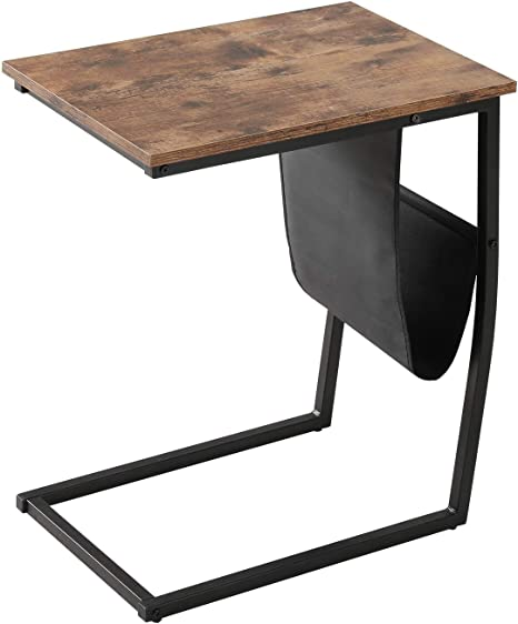 Bonzy Home Industrial End Table With Side Pocket Sofa Coffee Table For Living Room Small Side Table Kitchen Dining