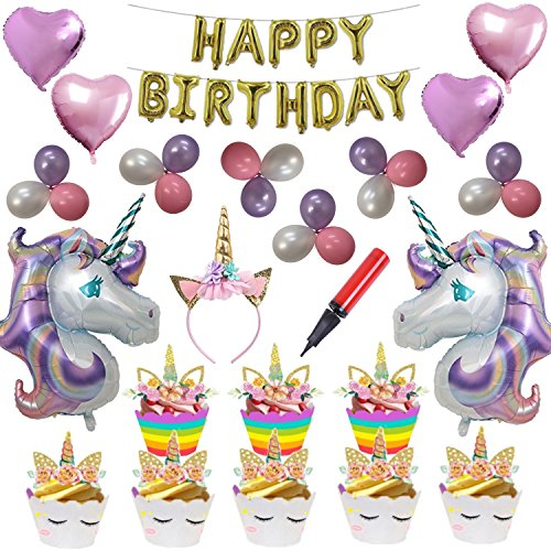 Unicorn Party Supplies - Including 24 Double Sided Cupcake Wrappers/Toppers & Unicorn Party Decorations, 51 Piece Unicorn Birthday Party Supplies By partyplanet