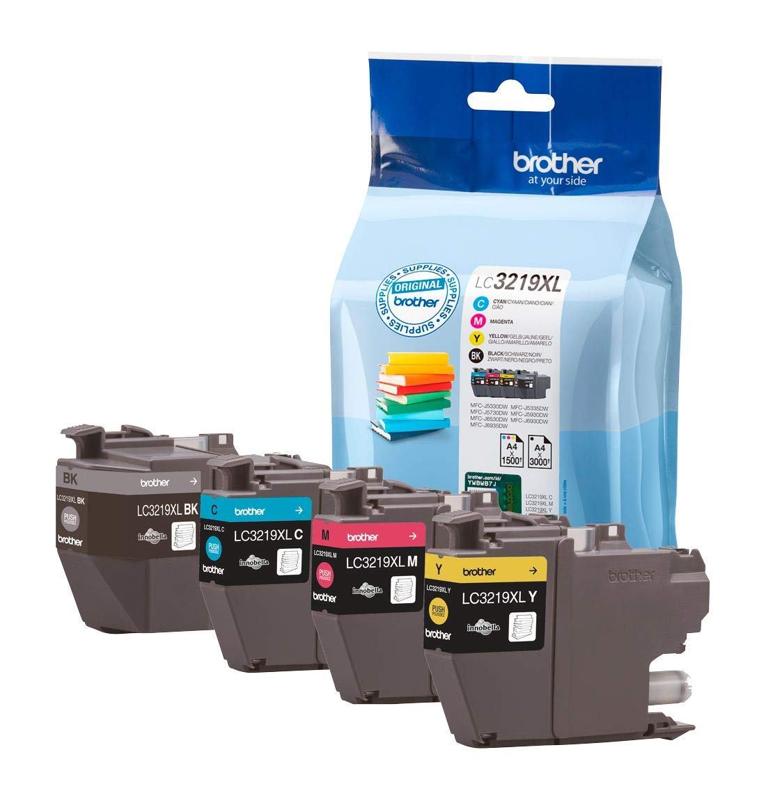Brother Original Tintenpatronen LC-3219XL im Value Pack (schwarz, cyan, magenta, gelb) (für Brother MFC-J5330DW, MFC-J5335DW, MFC-J5730DW, MFC-J5930DW, MFC-J6530DW, MFC-J6930DW, MFC-J6935DW)