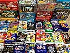 You will receive at least (100) NFL Football cards in factory sealed, vintage packs. Brands may include Topps, Bowman, Fleer, Pro Set, Score, Upper Deck and more. Years range from 1980's-1990's.   These packs are factory sealed and randomly s...
