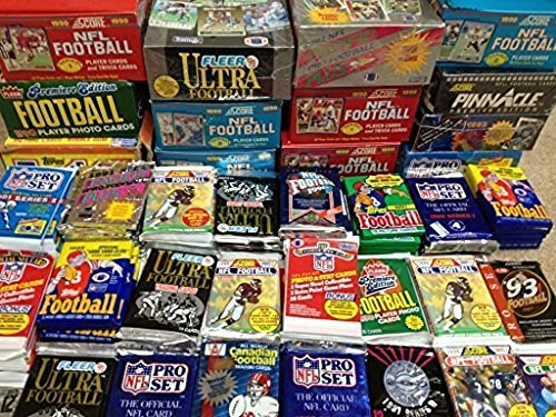 (100 Vintage Football Cards in Old Sealed Wax Packs - Perfect for New Collectors)