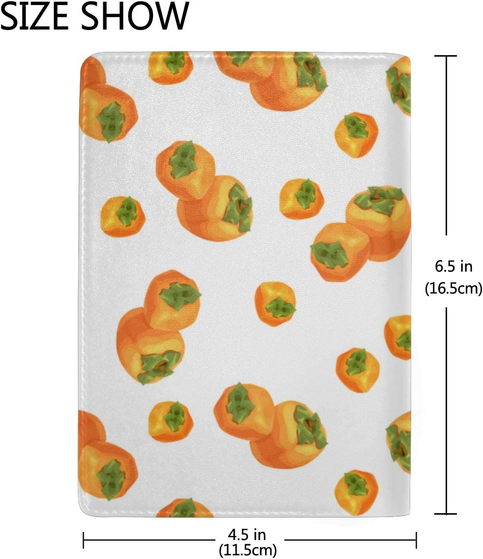 Ripe Persimmon Watercolor Blocking Print Passport Holder Cover Case Travel Luggage Passport Wallet Card Holder Made With Leather For Men Women Kids Family