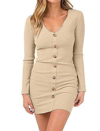 Uniquestyle Damen Tief V-Ausschnitt Bodycon Kleid Elegant Langarm Kleider  Minikleid Sexy Partykleid  Amazon.de  Bekleidung 34236dfefe