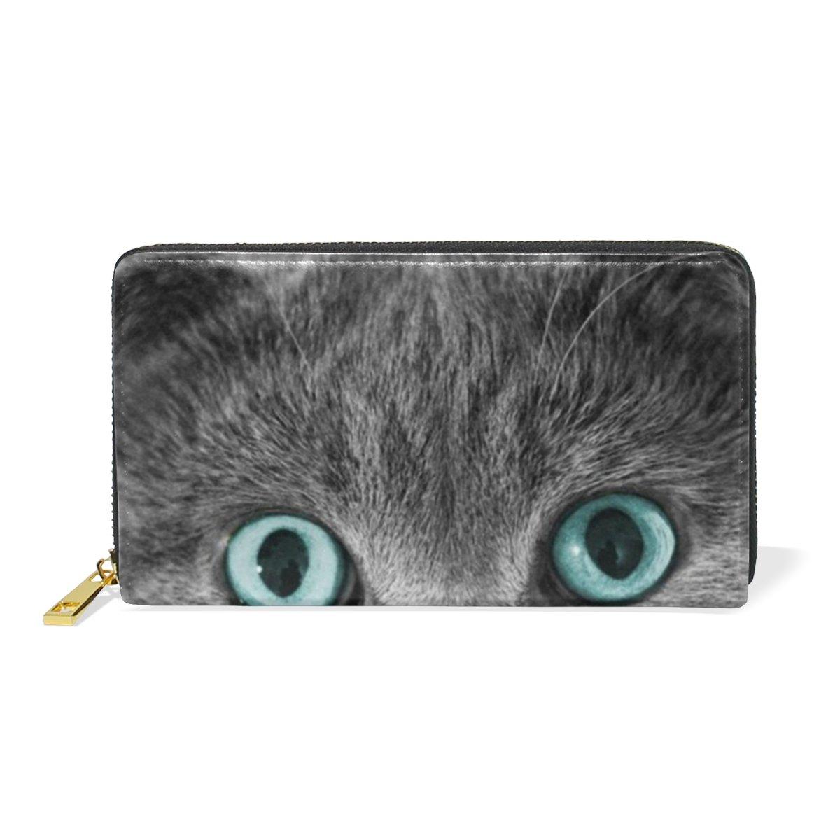 COOSUN Cuir Gris Cat Bourse d'embrayage Card Wallet Longue Porte Organisateur L Multicolore
