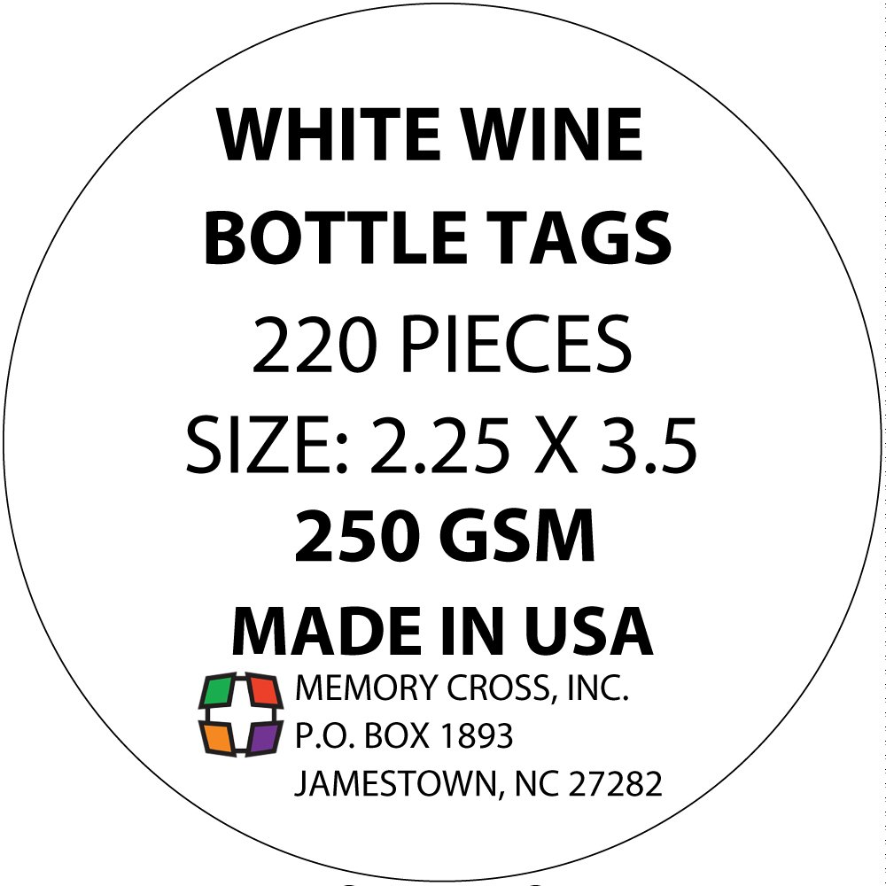Blank wine bottle paper hang tags - 220 pieces - made in USA by Memory Cross (Image #5)