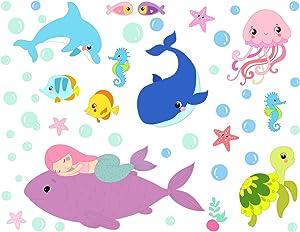 Mozamy Creative Sleeping Mermaid Wall Decals Girls Bedroom Wall Decals Mermaid Decals Under The Sea Peel and Stick Wall Decals