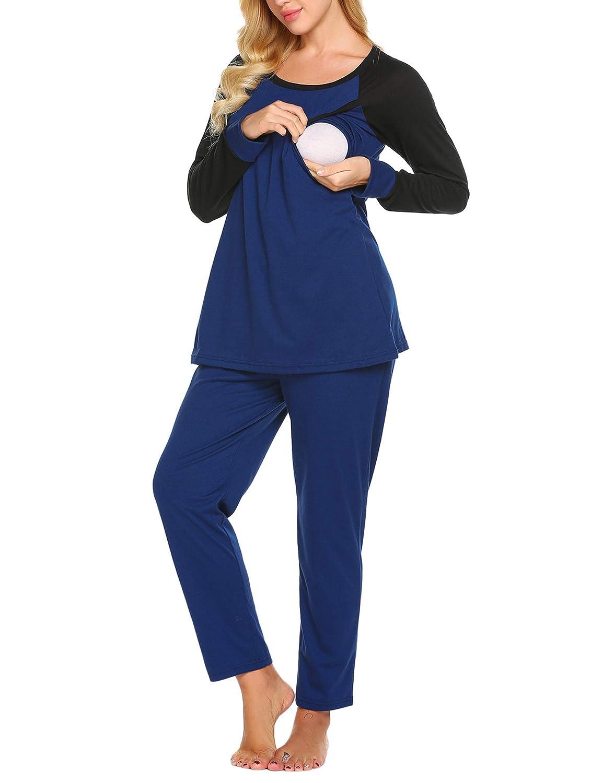 Damen Stillpyjama Baumwolle Umstandspyjama Zweiteilige Nachtwäsche Hausanzug Top Umstands Langarm mit Stillfunktion