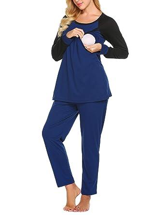 d5a93da081 Stillpyjama Damen Baumwolle Umstandspyjama Langarm Hausanzug Top Umstands  Lang mit Stillfunktion S bis XXL