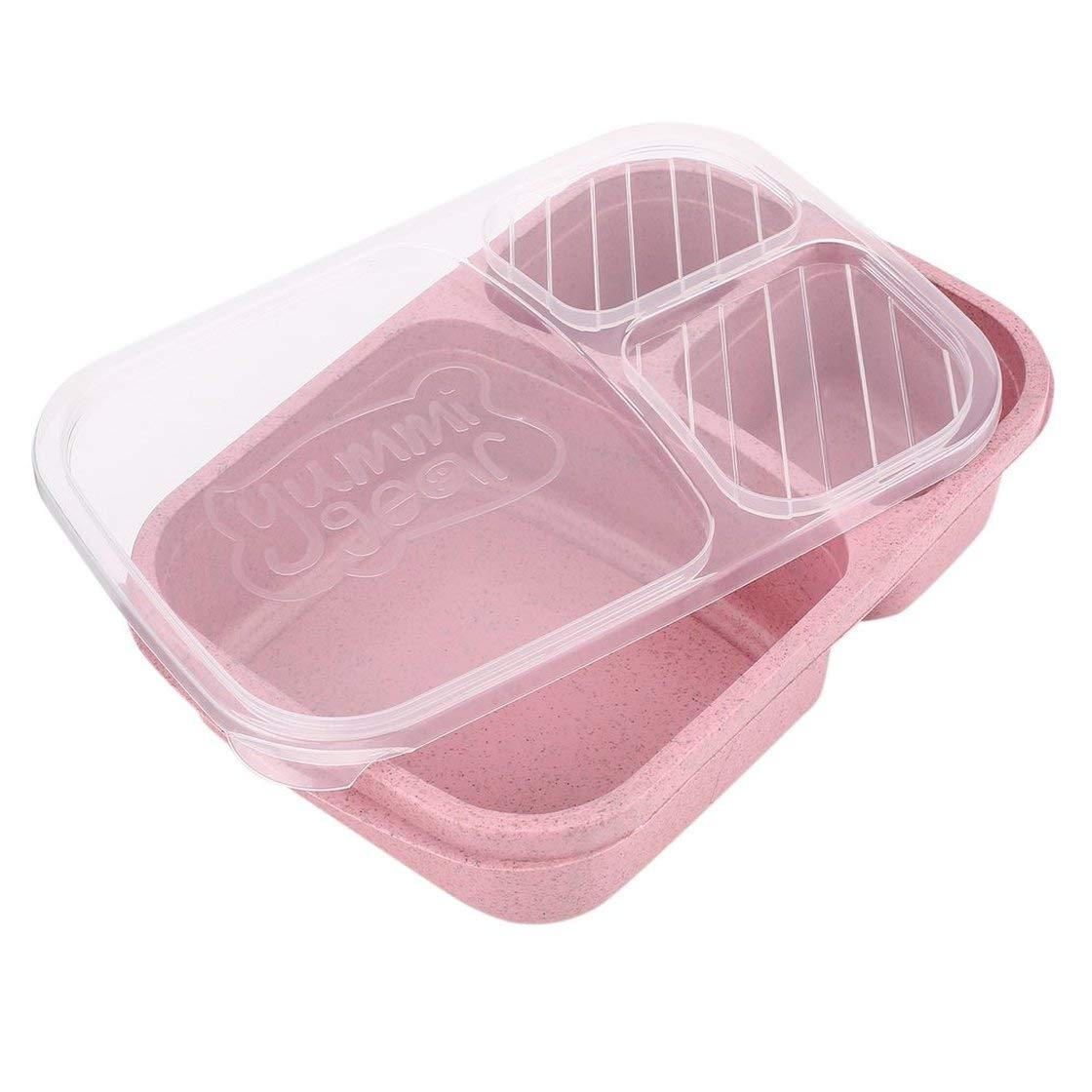 Bento Box di paglia di grano 3 griglie con coperchio contenitore per alimenti a microonde contenitore di conservazione biodegradabile Lunch Bento Box Set di stoviglie BlackPJenny