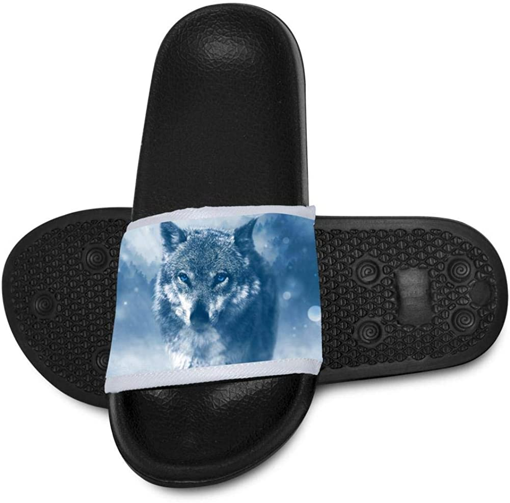 Kids Summer Slipper Majestic Wolf House Slippers Shower Slide Anti-Slip Beach Pool Bath Sandals for Boys Girls
