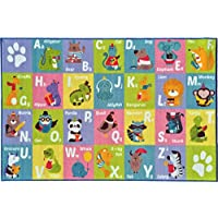 KC Cubs Playtime Collection ABC Alphabet Animal Educational Learning & Game Area Rug Carpet for Kids and Children Bedrooms and Playroom