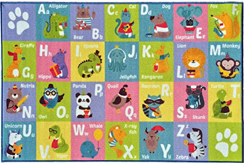 Animals Carpets Abc Learning - KC CUBS Kev & Cooper Playtime Collection ABC Alphabet Animal Educational Area Rug - 5'0