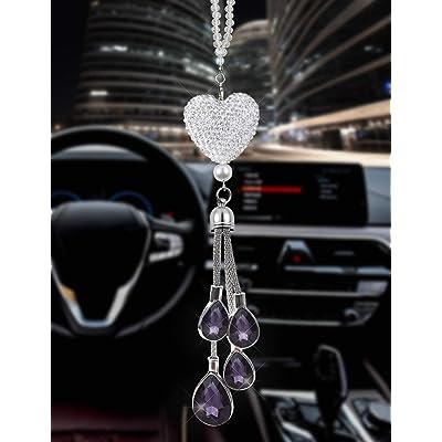 EZEYU Bling Car Rear View Mirror Charm,Crystal Sun Catcher Ornament,Car Charm Decoration,Rhinestone Hanging Ornament for Car & Home Decor (Purple): Automotive