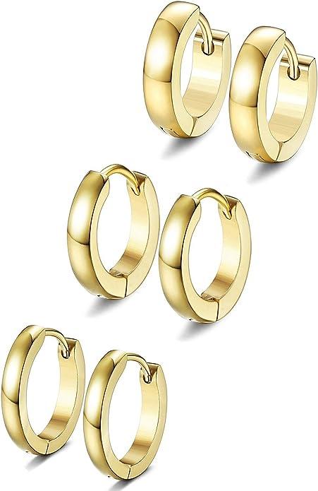 BESTEEL 3Pares Acero Inoxidable 2-4MM Pendientes Aro para Hombre Mujer Aretes Anillo Originales Oro Plata y Negro, 18G oro: Amazon.es: Joyería