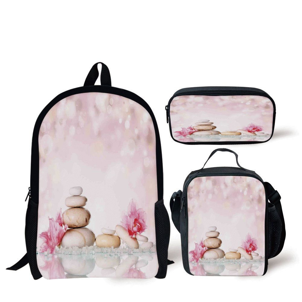 School Lunch Pen Bags,Spa,Bohemian Zen Stones and Soft Petals Therapy Tradition Chakra Yoga Asian Picture,Light Pink Peach,Personalized Print