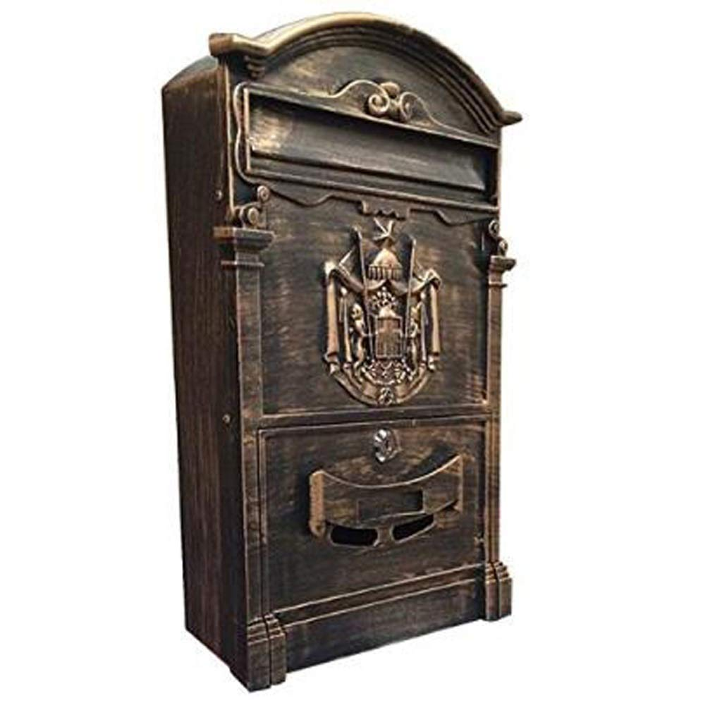 XM mailboxes ZfgG Lockable Letter Box for Outdoor Mail with Letter Box, Bronze