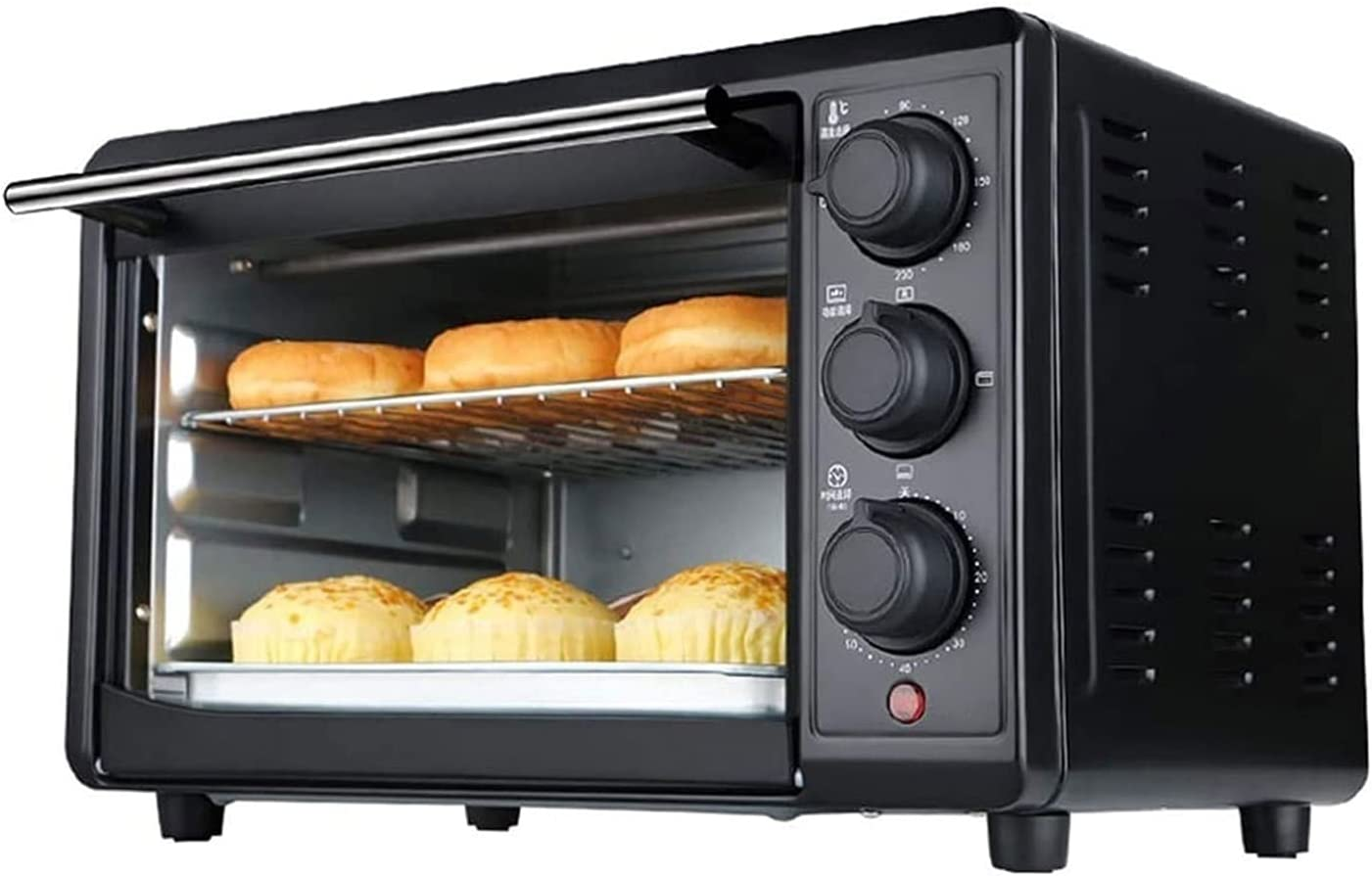 SFLRW Extra Wide Convection Countertop Toaster Oven, Includes Bake Pan, Broil Rack & Toasting Rack, Stainless Steel/Black