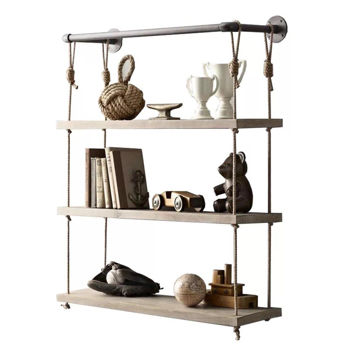 warm van 24 industrial metal and wood wall mount shelves hanging hemp rope 663585525070 ebay. Black Bedroom Furniture Sets. Home Design Ideas