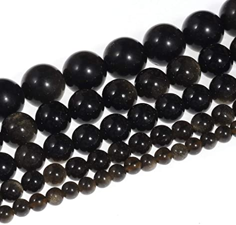 4-8mm Bulk Round Natural Obsidian Gemstone Beads Loose Bead DIY Jewelry Finding