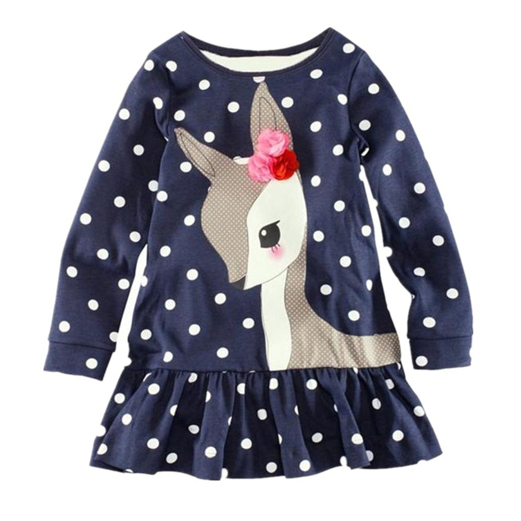 For 1-8 Years Old, Clode®Toddler Baby Girls Kids Autumn Clothes Long Sleeve Deer Tops T-Shirt Dress Clode-T63