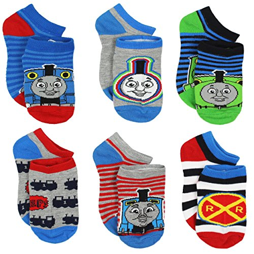 Thomas Train Boys 6 pack Socks (4-6 Toddler (Shoe: 7-10), Thomas Stripes Multi) from Hit Entertainment