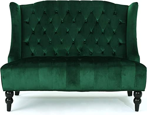 Contemporary Wingback Loveseat – Tufted Velvet Fabric Upholstery Sofa Couch in Accent Colors Emerald