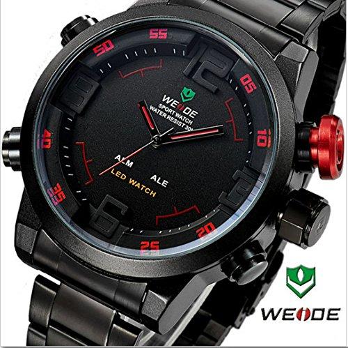 WEIDE Reloj de Pulsera Milital Deportivo con Fecha Semana LED Alarma de Cuarzo - Botón de Rojo: Amazon.es: Relojes