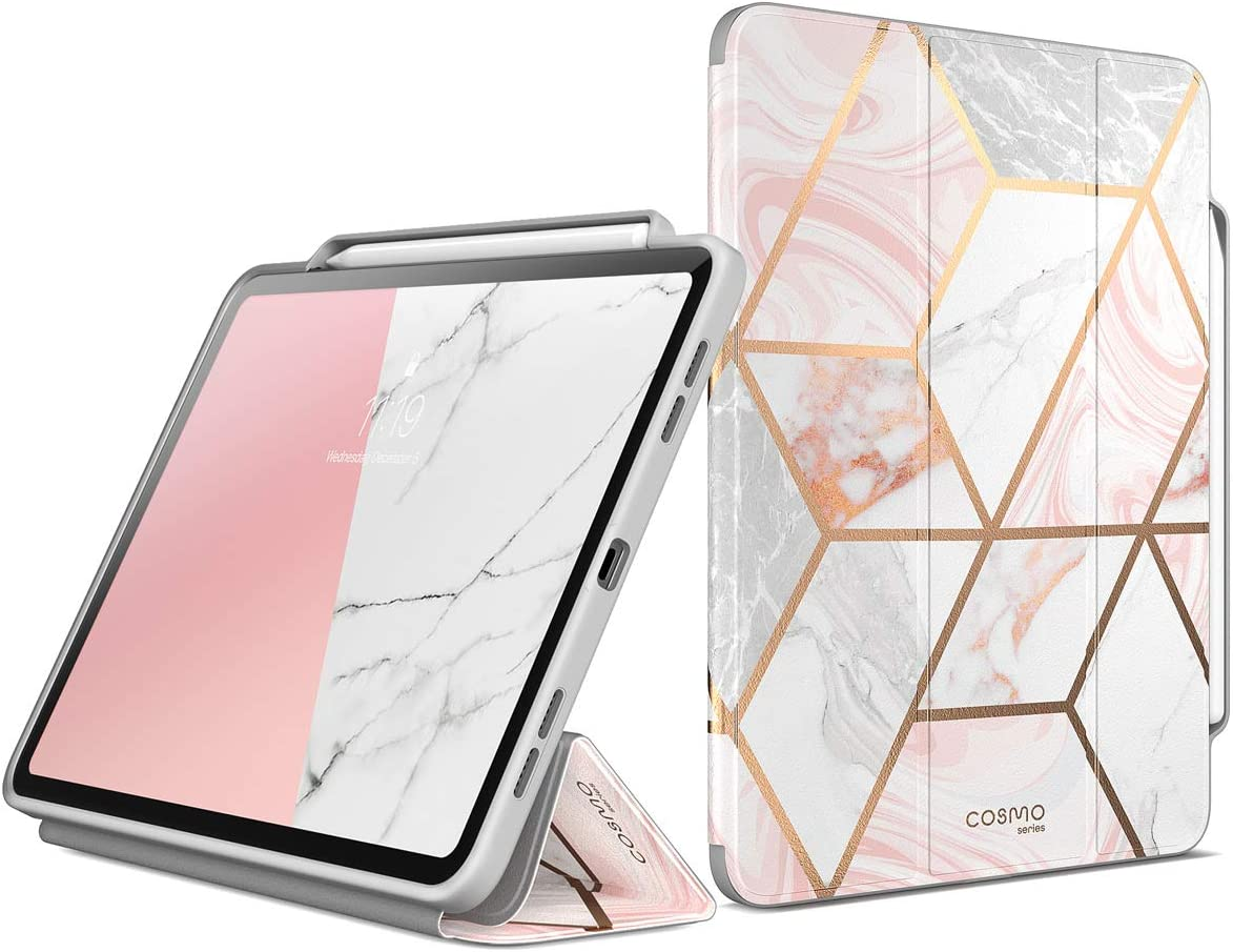 i-Blason Case for New iPad Pro 11 Inch Case 2018 Release, [Cosmo] Full-Body Trifold Stand Protective Case Cover with Auto Sleep/Wake & Pencil Holde, Marble, 11