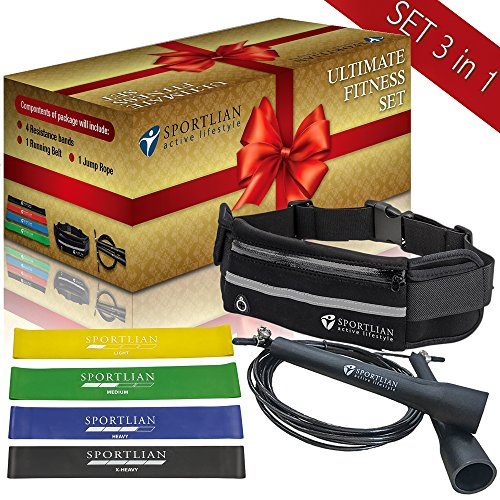 Exercise bands set - jump rope light - resistance bands set - set 3 in 1 - skipping rope - fitness exercise bands - workout band - running belt - money clip belt - portable jump rope - home exercise