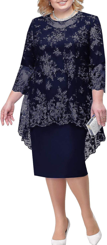 MisShow /Übergr/ö/ßen Brautmutterkleid mit Jacke Hochzeitskleid Abendkleider Spitze Etuikleider Promkleider Midilang