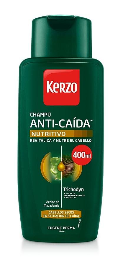 Kerzo Champú Anticaída Nutritivo para Cabellos Secos - 3 Recipientes de 400 ml - Total: