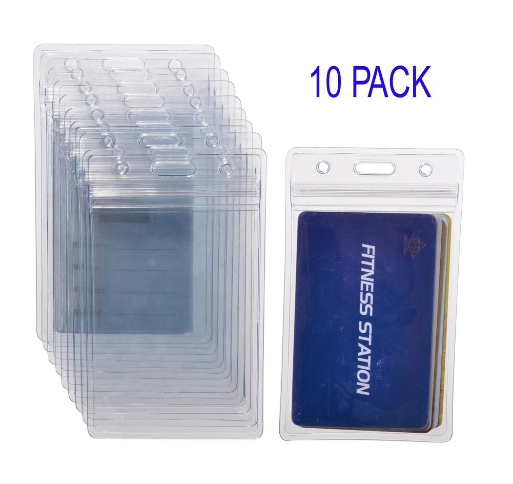KEYLION 10 Heavy Duty ID Card Badge Holder Clear Vertical Vinyl PVC with Waterproof Type Resealable Zip, Plastic Single Layer Thickness 0.4mm Thicker 60% Than Standard 0.25mm