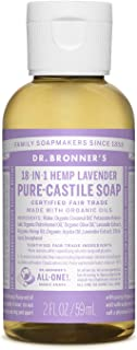 product image for Dr. Bronner's - Pure-Castile Liquid Soap (Lavender, 2 ounce) - Made with Organic Oils, 18-in-1 Uses: Face, Body, Hair, Laundry, Pets and Dishes, Concentrated, Vegan, Non-GMO