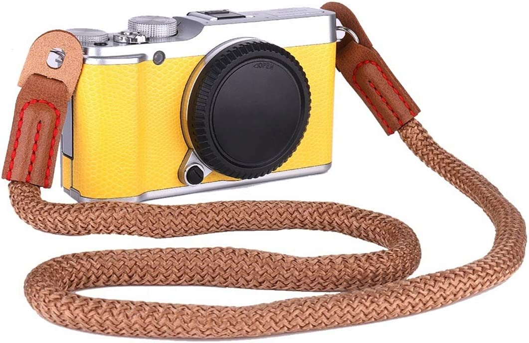 Color : Brown Sony etc Panasonic Brown Canon Mini Cameras MEETBM ZIMO,Vintage Cotton Soft Shoulder Neck Strap for Leica Fuji Nikon